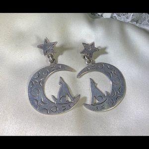 Vintage sterling moon and star earrings